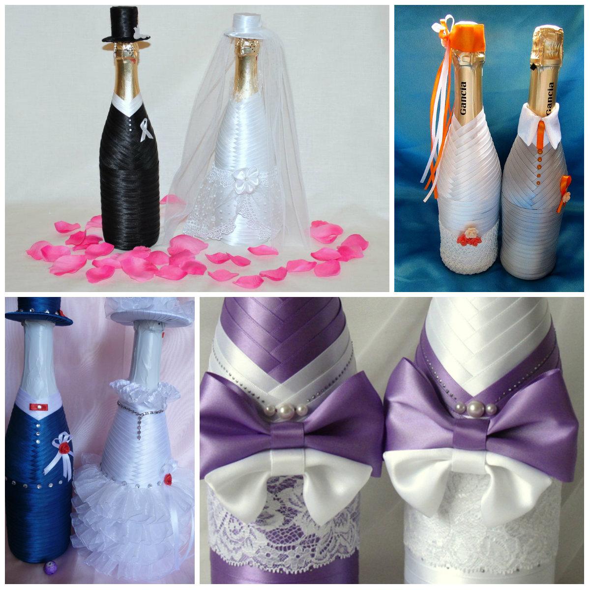 Свадебные бутылки оформление своими руками