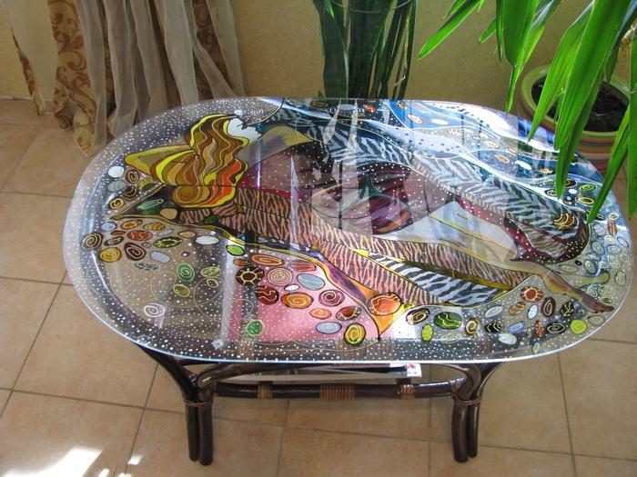 декупаж мебели стеклянной