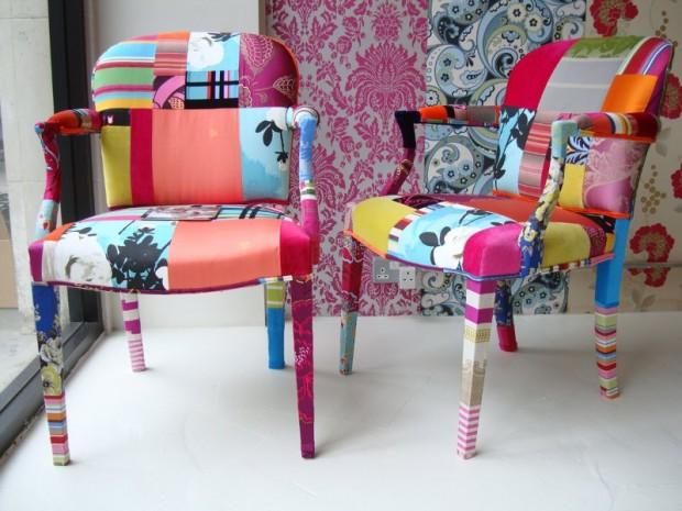 декупаж мебели тканью
