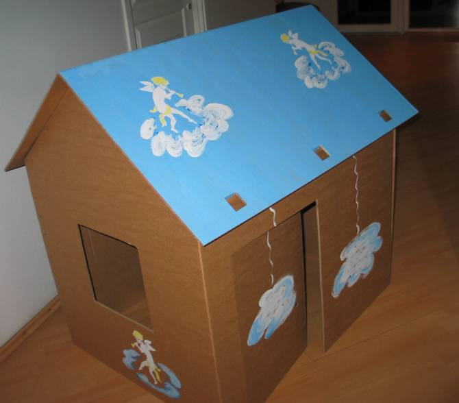 Как сделать дом поделку из картона 26