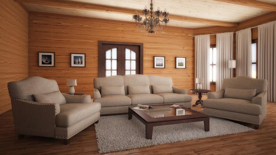 Дизайн интерьера дома из профилированного бруса фото