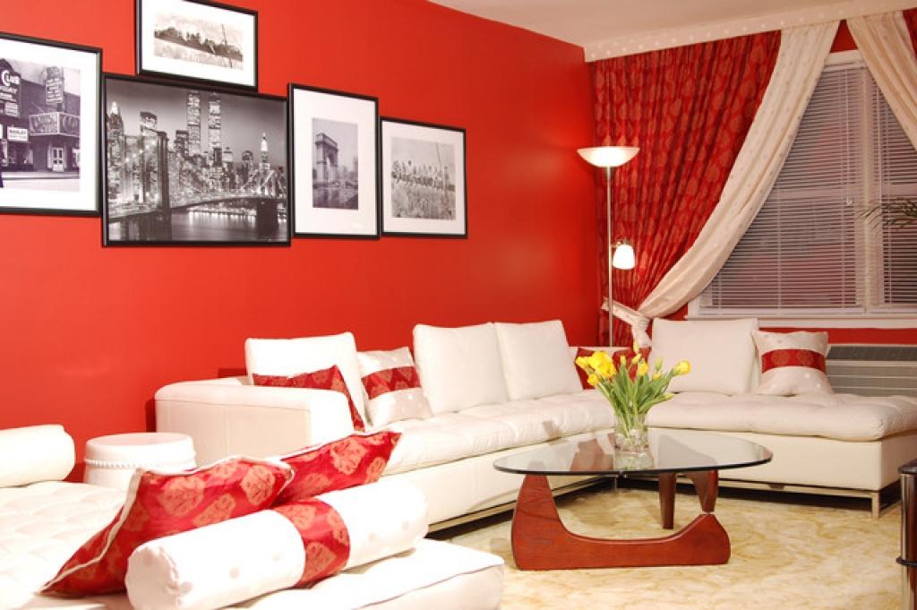 Бело красный интерьер фото