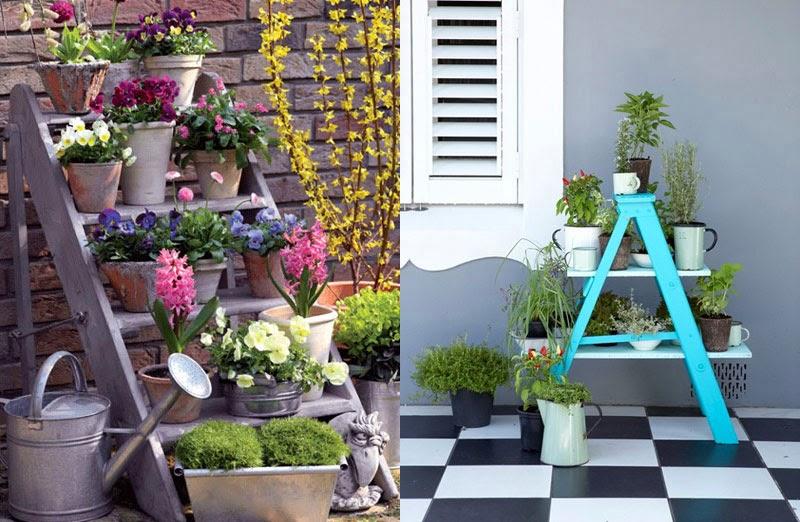 как сделать подставку для цветов из лестницы своими руками