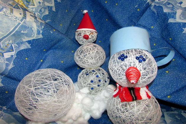 Поделка своими руками снеговика из бумаги
