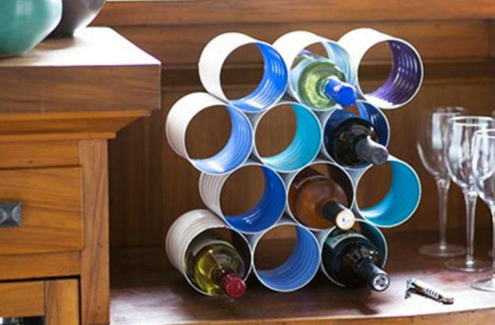 подставка под бутылки из жестяных банок