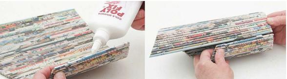 подставка для бутылок из газет