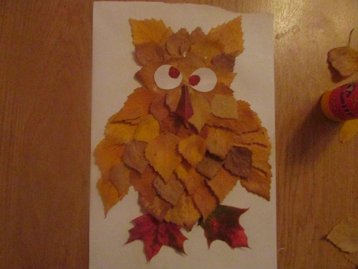 Сделать сову из листьев своими руками 111